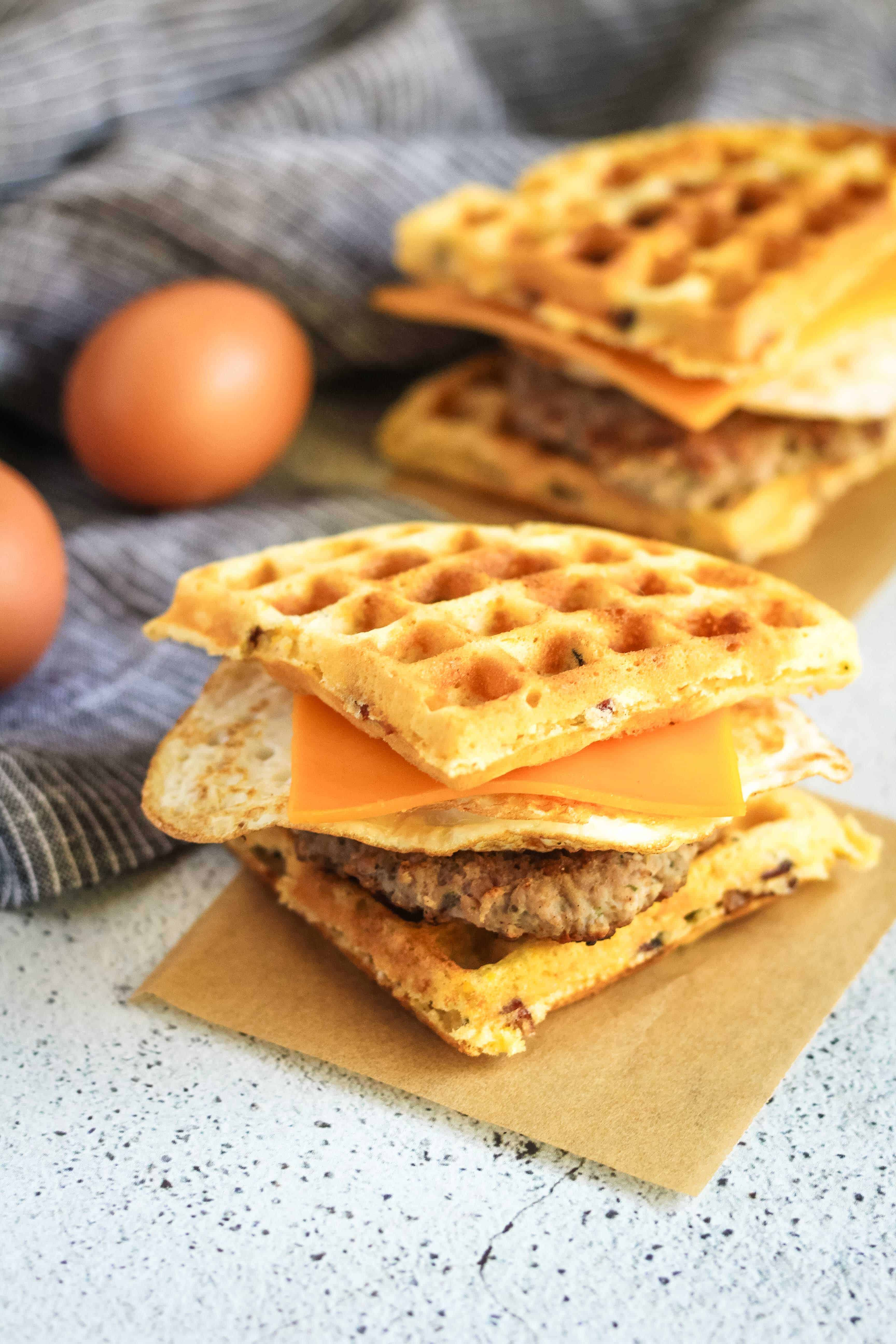 Sausage And Egg Waffle Sandwiches
